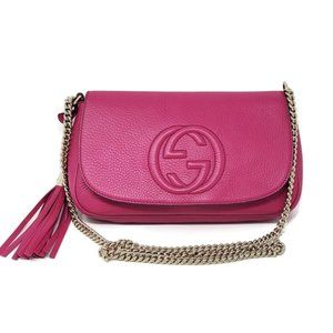 Auth Gucci Soho Fuchsia on Chain Crossbody Bag